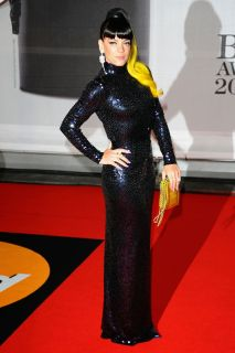 Lily Allen looking great in sequins AND a polo neck - busty types BEWARE!