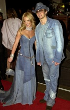 Justin and Britney come as a denim sofa