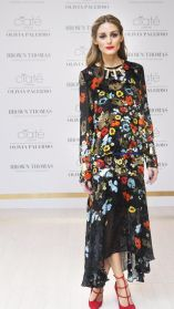 Olivia Palermo does maxi dress with a statement shoe