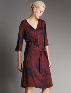For 'Autumns' - Burgundy and blue dress £59 at M&S