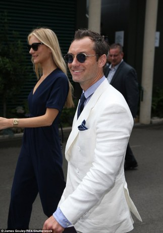 Jude Law arriving at Wimbledon