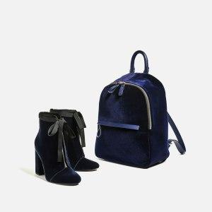 Blue velvet backpack £35.99 at Zara