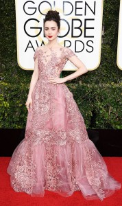 Lily Collins in Zuhair Murad at the Globes