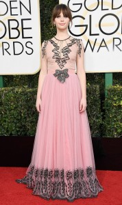 Clare Foy in Gucci at the Globes